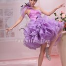 charming lavender organza one shoulder cocktail dress with ruffled skirt 374