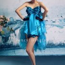 modern turquoise tulle sweetheart mini length homecoming dress 387