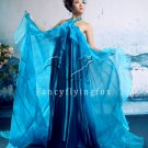 charming turquoise halter neck empire maternity prom dress 388