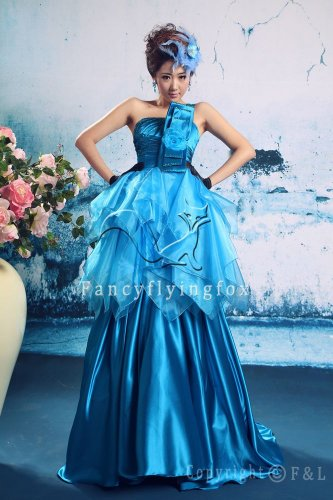 classic turquoise satin strapless ball gown floor length quinceanera dress 389