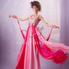 modern and sexy fuchsia chiffon straps a-line floor length prom dress y-040