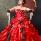 luxurious red tulle and organza strapless ball gown floor length quinceanera gowns y-077