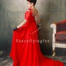 elegant red chiffon one shoulder a-line floor length evening dress 14