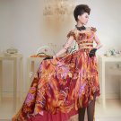 modern and sexy printed chiffon short sleeves a-line floor length evening dress y-037