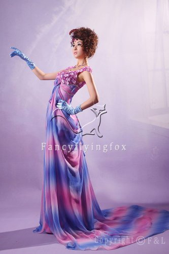 charming rainbow chiffon straps a-line floor length evening gowns y-050
