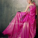 elegant fuchsia chiffon one shoulder a-line floor length prom dress y-058