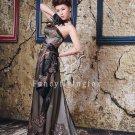 modest black tulle strapless a-line floor length evening dress y-061