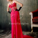 mature fuchsia chiffon spaghetti straps a-line floor length evening dress y-071