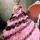 2013 classic and vintage pink and black tulle strapless ball gown quinceanera dress y-074