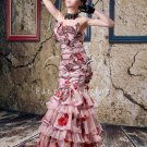 2013 strapless vintage printed tulle mermaid evening dress y-079