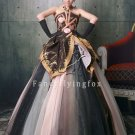 modest shining net strapless ball gown floor length quinceanera dress y-080