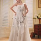 2013 modest off white chiffon one shoulder column wedding dress F-008