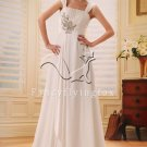 elegant and brilliant chiffon straps a-line floor length beach casual wedding dress F-016