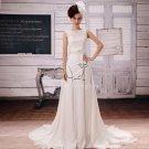 brilliant white chiffon and satin portrait neck a-line floor length wedding dress F-017