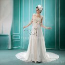 charming lace floral straps empire floor length maternity wedding dress F-020