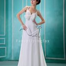 sexy and charming white chiffon a-line floor length beach casual wedding dress F-030