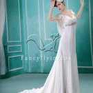 gorgeous chiffon v-neck a-line floor length beach casual wedding dress F-031