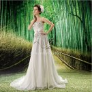 classic and modern white chiffon spaghetti straps a-line casual beach wedding dress F-041
