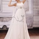 elegant white chiffon v-neck a-line floor length beach casual wedding dress F-048