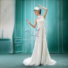 elegant halter neck a-line floor length beach casual wedding dress F-067