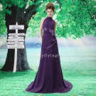 charming purple chiffon halter neck a-line floor length evening dress F-067
