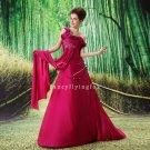sexy burgundy chiffon one shoulder long formal evening dress L-004