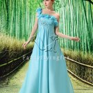sky blue chiffon one shoulder empire prom dress L-004