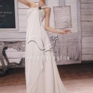asymmetrical neck a-line floor length beach casual wedding dress L-016
