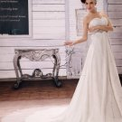 modern sweetheart empire chiffon maternity wedding dress with beaded bust L-018