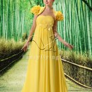 sweet yellow chiffon strapless empire evening dress with jacket L-021