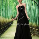 modest black chiffon sweetheart a-line mother of the bride dress L-022
