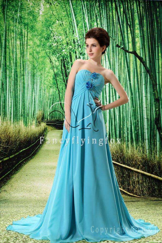 sky blue chiffon sweetheart a-line floor length evening dress L-022