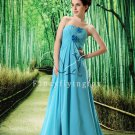 sky blue chiffon sweetheart a-line floor length evening dress L-022