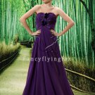 elegant purple chiffon sweetheart a-line floor length evening gowns L022