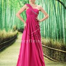 affordable fuchsia chiffon one shoulder a-line floor length bridesmaid dress L-023
