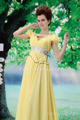 cheap daffodil chiffon short sleeves a-line floor length evening dress L-025