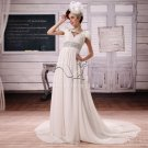 couture chiffon v-neck a-line floor length casual beach wedding dress L-025