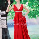 sexy red chiffon v-neck a-line floor length evening dress with royal train L-026