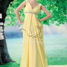 affordable daffodil chiffon v-neckline a-line floor length evening dress L-026