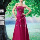 couture design fuchsia satin strapless a-line floor length evening dress L-027