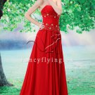 sexy hot red chiffon strapless a-line floor length evening dress L-028