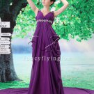 gorgeous deep v-neck purple chiffon a-line floor length evening dresses L-034