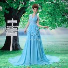 charming and elegant sky blue chiffon halter a-line floor length prom dress L-035