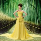 inexpensive daffodil chiffon strapless a-line floor length prom dress L-037