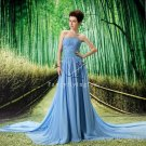 noble ice blue chiffon strapless a-line floor length prom dress with ruched bust L-037