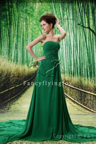 flattering green chiffon strapless a-line floor length evening dress L-038