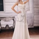 elegant straps white chiffon a-line floor length beach wedding dress Y-002