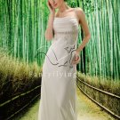 attractive white chiffon spaghetti straps a-line floor length beach wedding dress Y-005