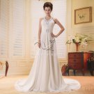 gorgeous halter neck a-line floor length chiffon wedding dress with chapel train Y-009