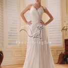 modern and elegant white chiffon halter a-line floor length destination wedding dress Y-010